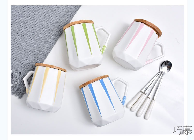 Qiao mu creative contracted candy color ceramic keller cup with cover spoon picking getting coffee cups of milk