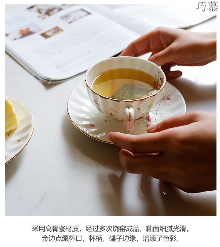 Qiao mu LH rose garden ceramic coffee cups and saucers suit, lovely rural wind rose floral red tea cups
