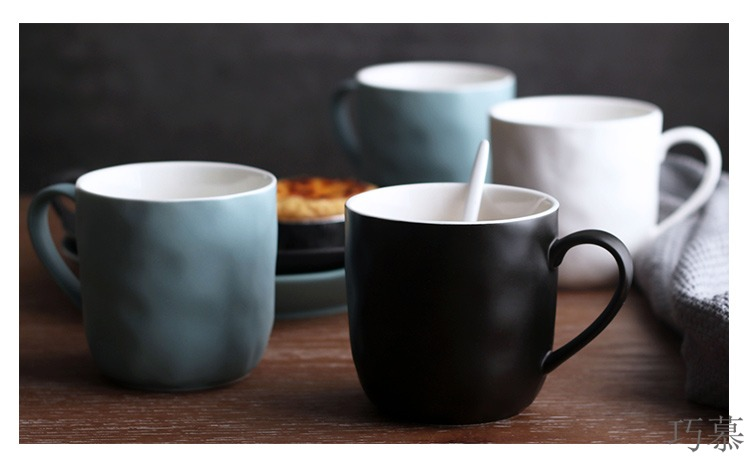 Qiao mu cup ins contracted mark cup ceramic European cup office of boreal Europe style coffee cups in the afternoon