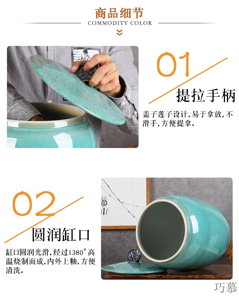 Qiao mu jingdezhen ceramic barrel ricer box with cover caddy fixings household moistureproof insect - resistant multigrain cylinder seal tea cake