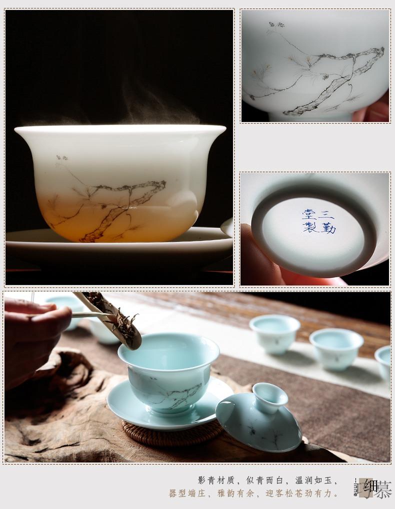 Qiao mu three just tureen jingdezhen ceramic cups kung fu tea set large three just a cup of tea to use