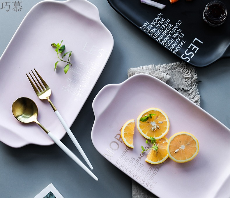 Qiao longed for the Nordic idea inferior smooth English ear plate ceramic plate household dish fish dish dish dish tray is steak