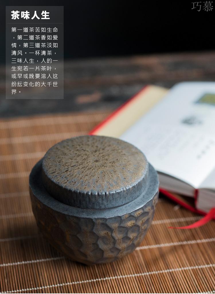 Qiao mu gold hammer tea pot ceramic seal moisture wake POTS to restore ancient ways small manual storage tanks