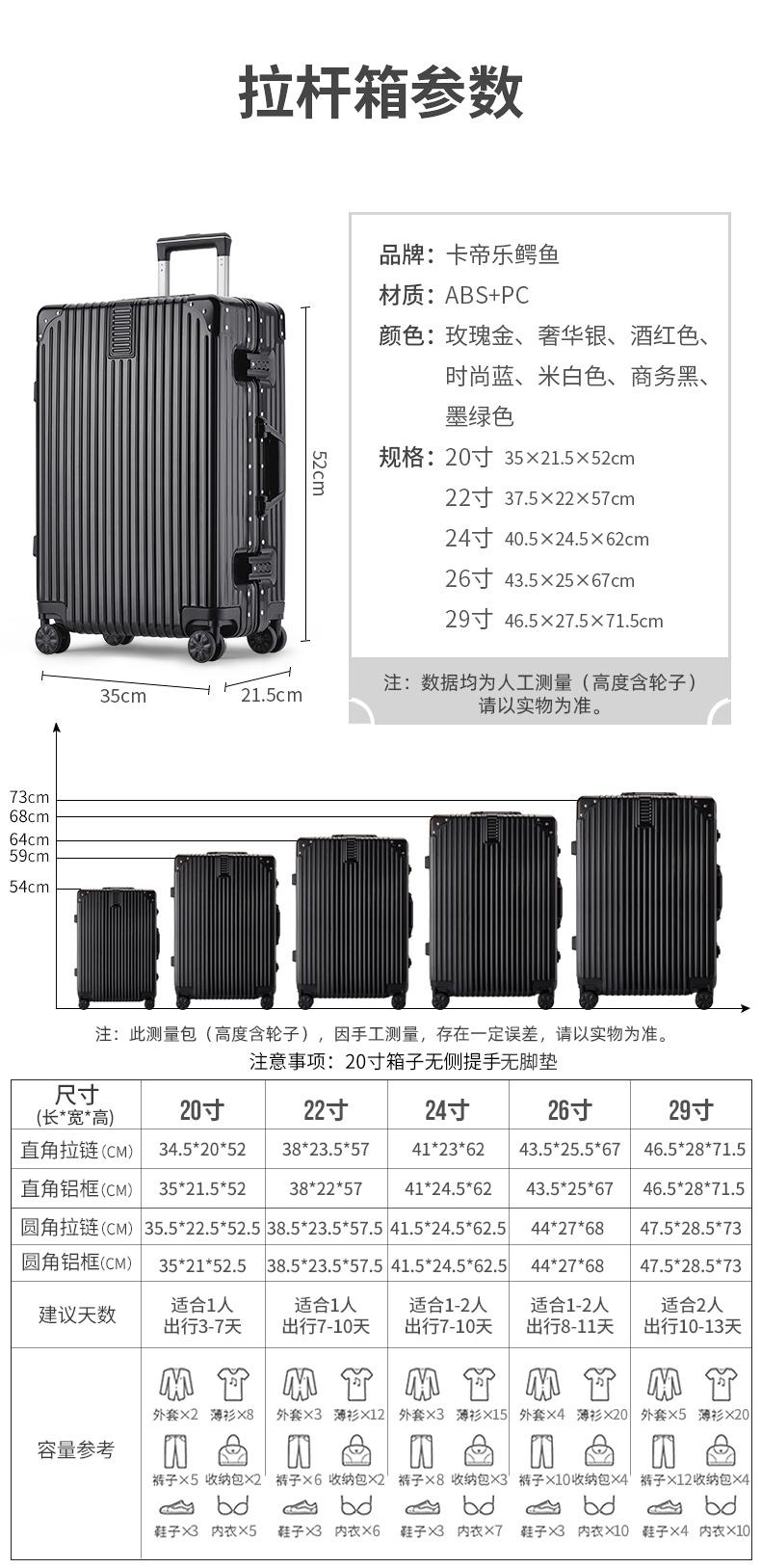 行李箱女男网红新款旅行拉桿箱小型万向轮密码皮箱子寸详细照片