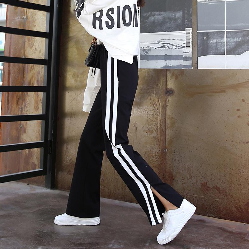 d9198b51 Спортивные штаны, женские брюки, 2019 весна и лето новая коллекция Широкие  штаны свободные разрезы