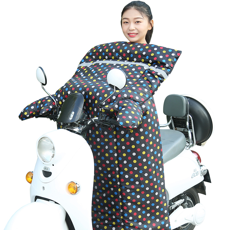 电动车挡风被冬季加大加厚防水电瓶车防风被摩托车加绒保暖护膝罩
