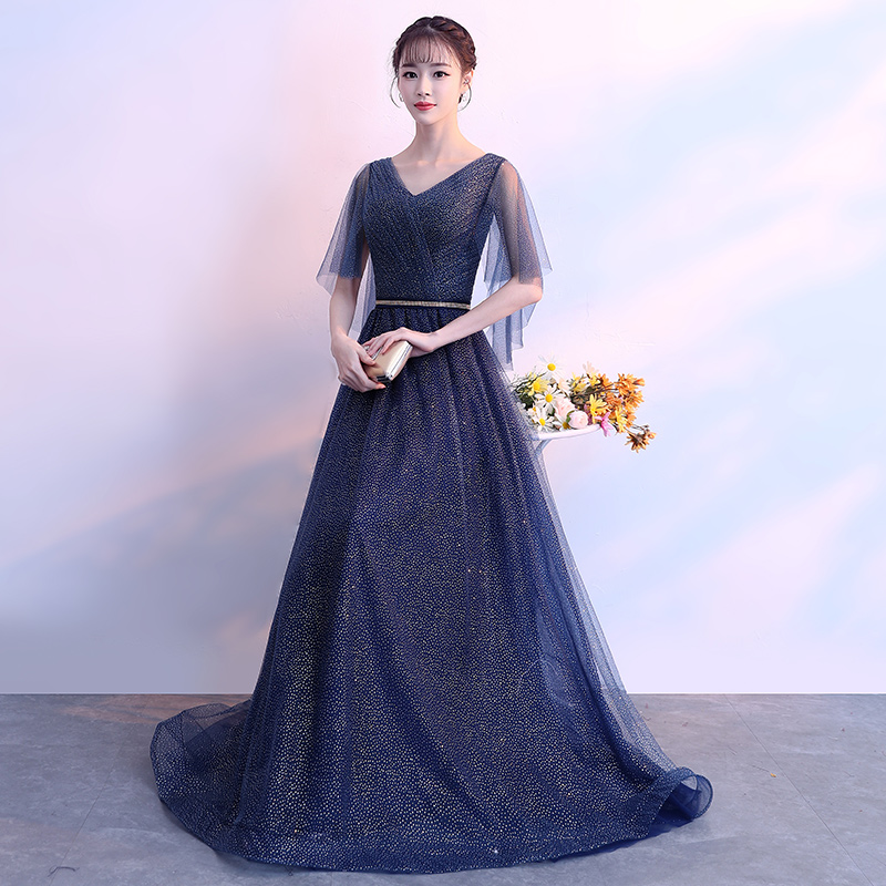 19a150f617bda Banquet evening dress female 2019 new dignified atmosphere long section  ladies thin young meeting noble elegant host skirt