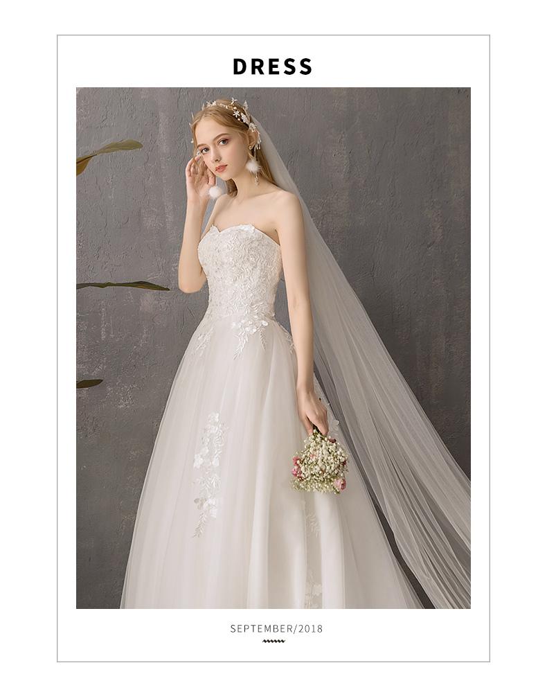 抹胸婚纱礼服新款法式新娘女简约森系超仙气质星空拖尾轻详细照片