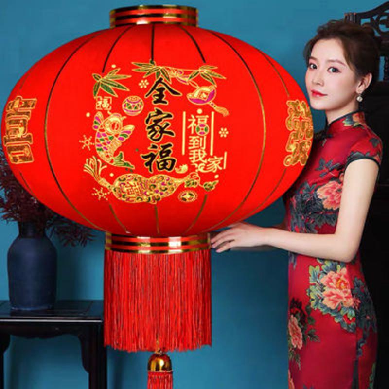 大红灯笼过新年春节喜庆装饰用品户外大门阳台乔迁防水植绒小灯笼