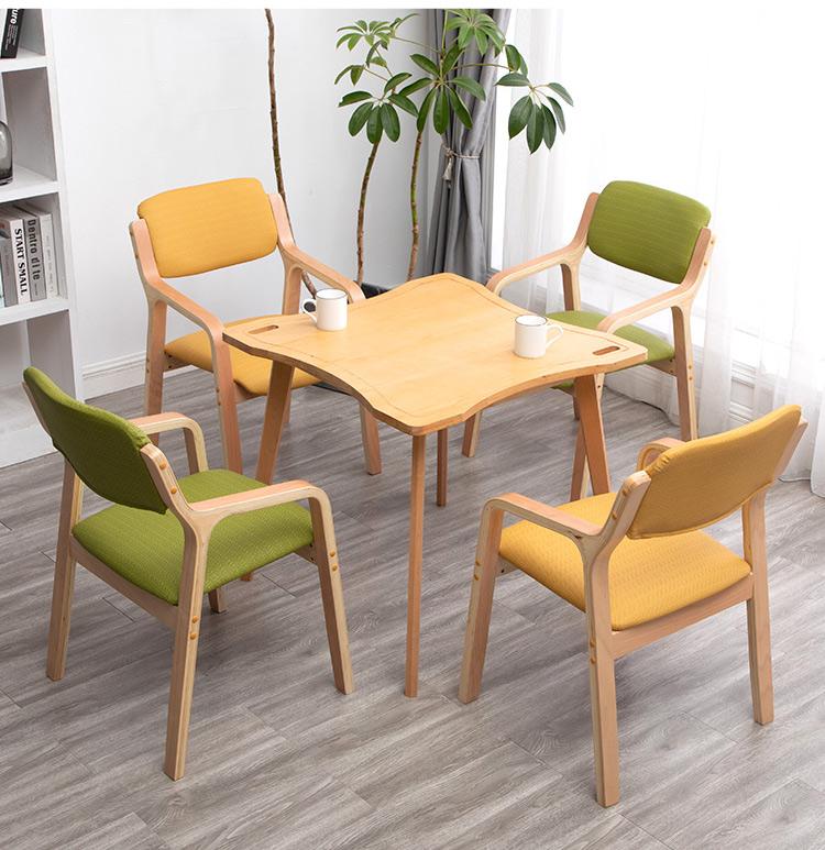 老年椅适老化设计公寓疗养康復机构敬老养老院福利中心曲木餐椅子详细照片