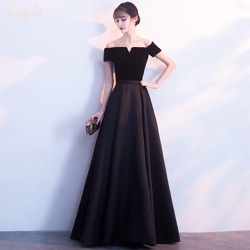 b77bb752a Black evening dress skirt female 2019 new spring banquet fashion evening  dress annual host party small dress