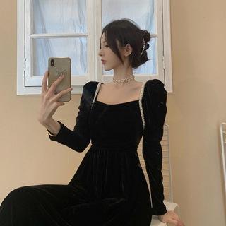 Ночь платья обычно носить бархат черный платье ребенка платье женский осенний зима свет экстравагантный дамы праздник может темперамент, цена 2843 руб