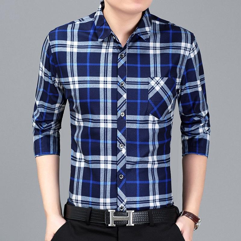 爸爸衬衫长袖中老年人秋装40-50岁冬装加绒加厚中年男士衬衣上衣