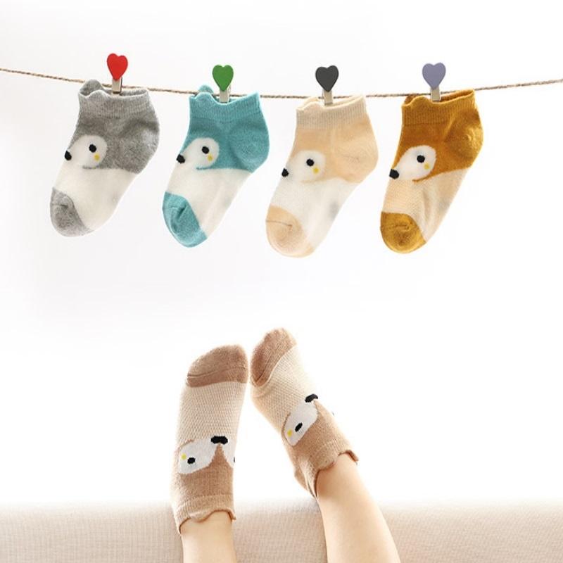 薄款白色学生短袜子 男童女童纯棉0-1-3-5-7-9岁夏季儿童透气船袜-给呗网