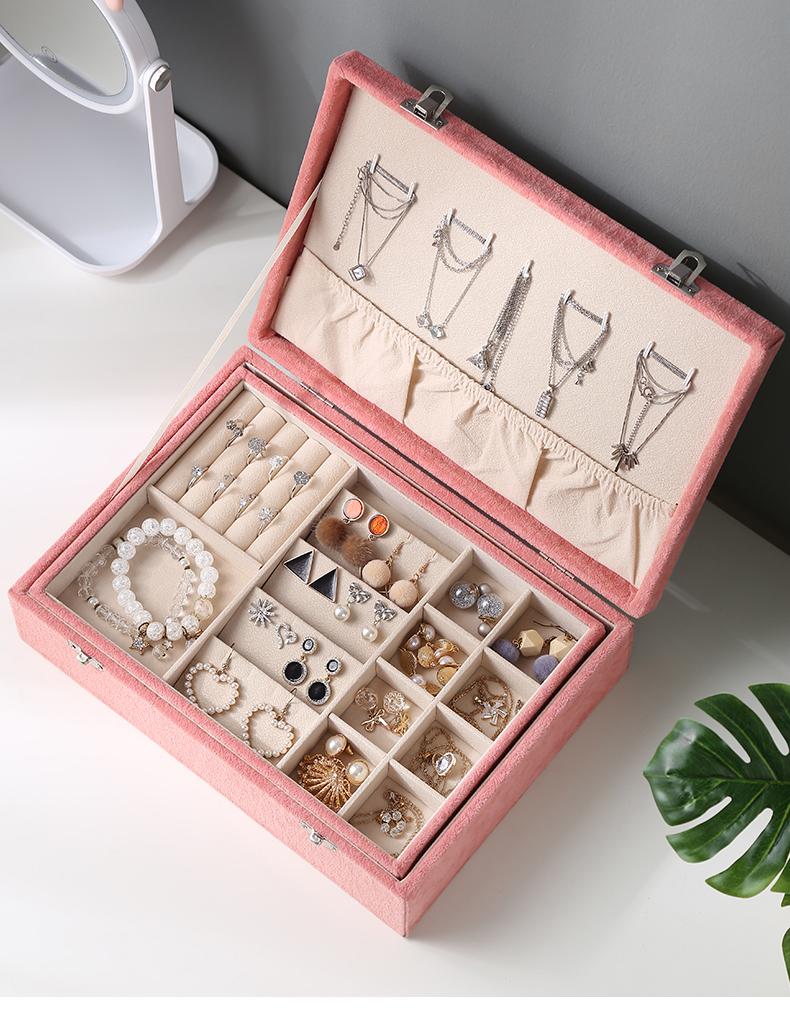 首饰盒耳环耳饰收纳盒耳针饰品盒子网红珠宝盒项链戒子大容量详细照片