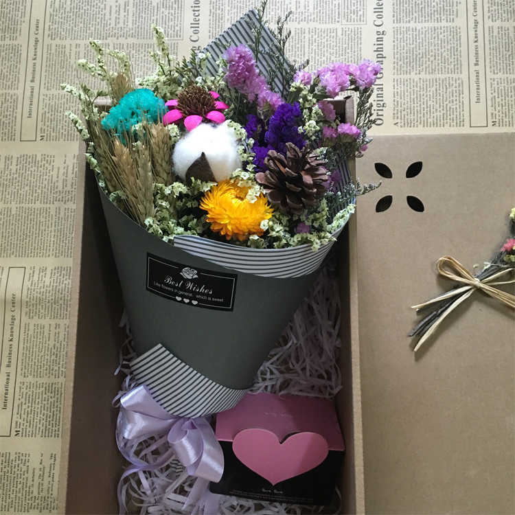 USD 23.87] Korean cotton dry flower bouquet gift box graduation ...