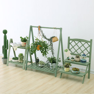Single-layer, two-layer, multi-layer flower stand, Chlorophytum, new green flower stand, hanging wooden solid wood flower stand, grid balcony, living room