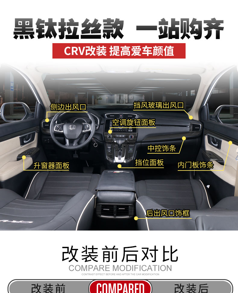Bộ ốp trang trí nội thất đen titan xe Honda CRV 2017-2019 - ảnh 1