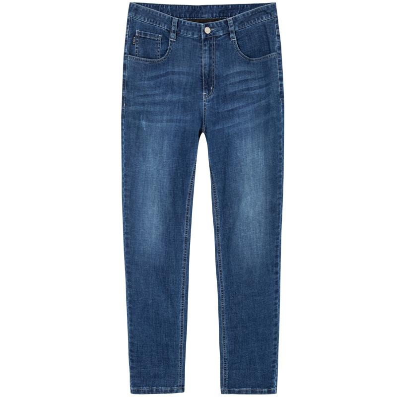 才子男装直筒牛仔裤官方旗舰2021夏季宽松薄款弹力裤水洗牛仔长裤