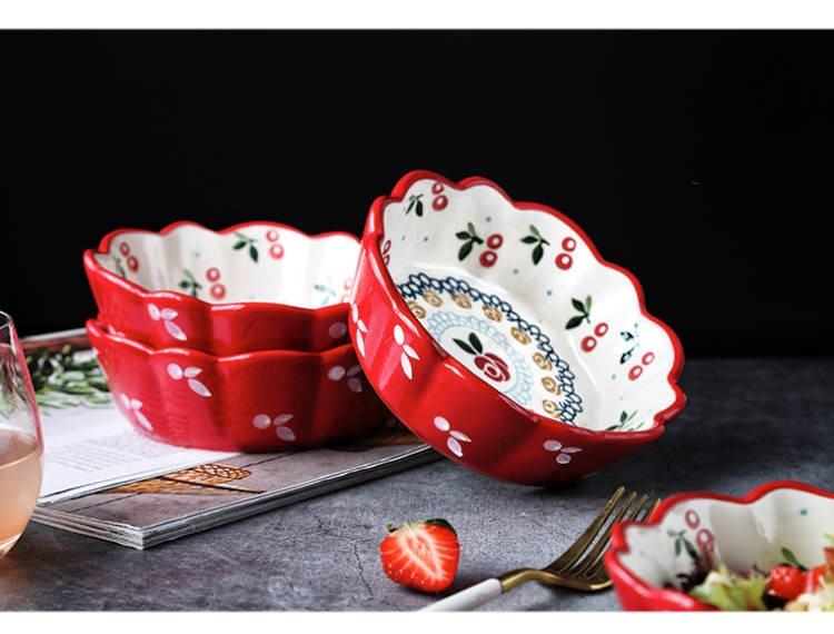 The Japanese kitchen ceramic tableware cherry fruit salad bowl bowl ins lovely creative web celebrity rainbow such as always nice move