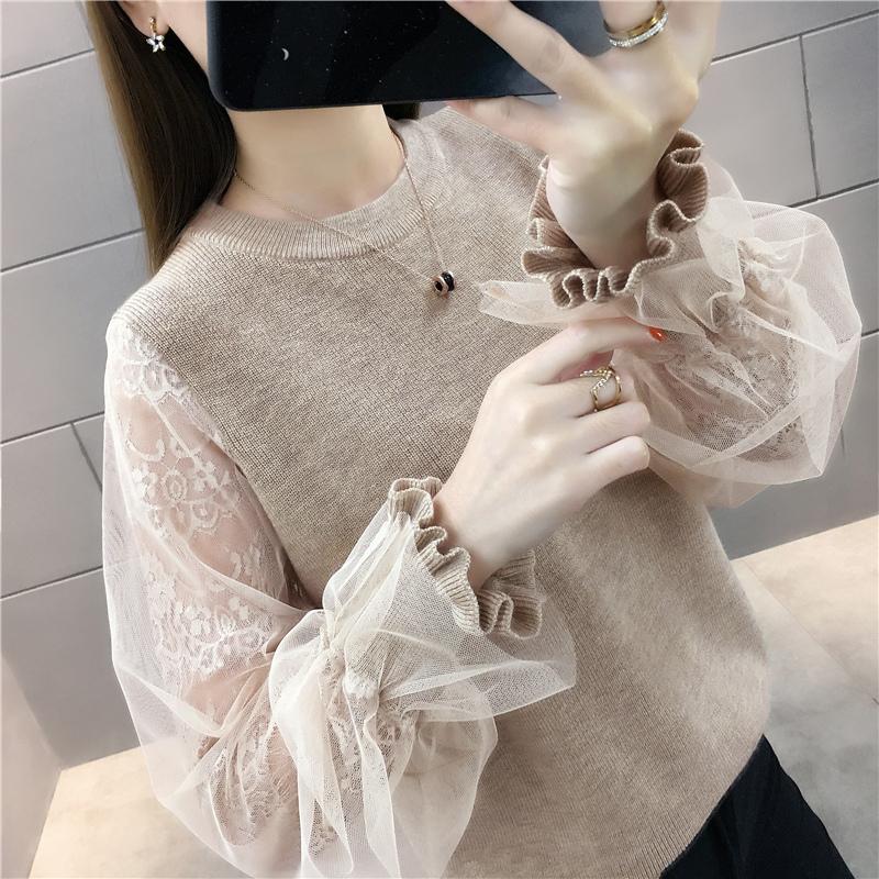 秋季必备!宽松韩版网纱蕾丝拼接针织衫