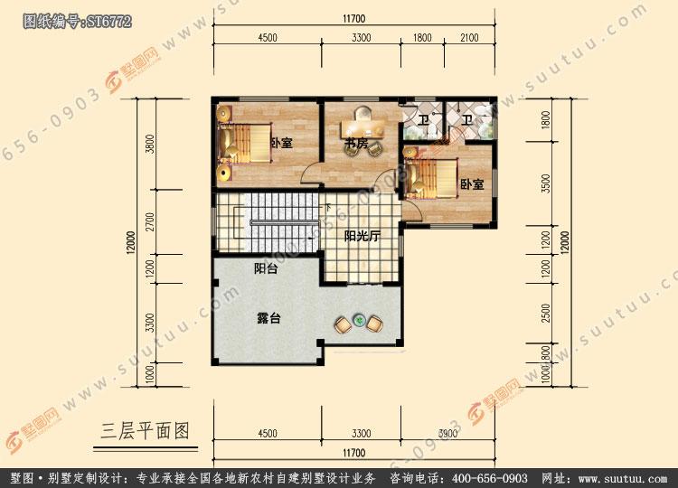 农村130平方三层别墅设计图