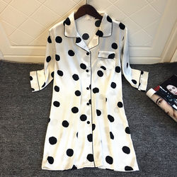 White polka dot shirt sexy pajamas women's spring and autumn mid-length pajamas sweet and cute ice silk cardigan with thin sleeves