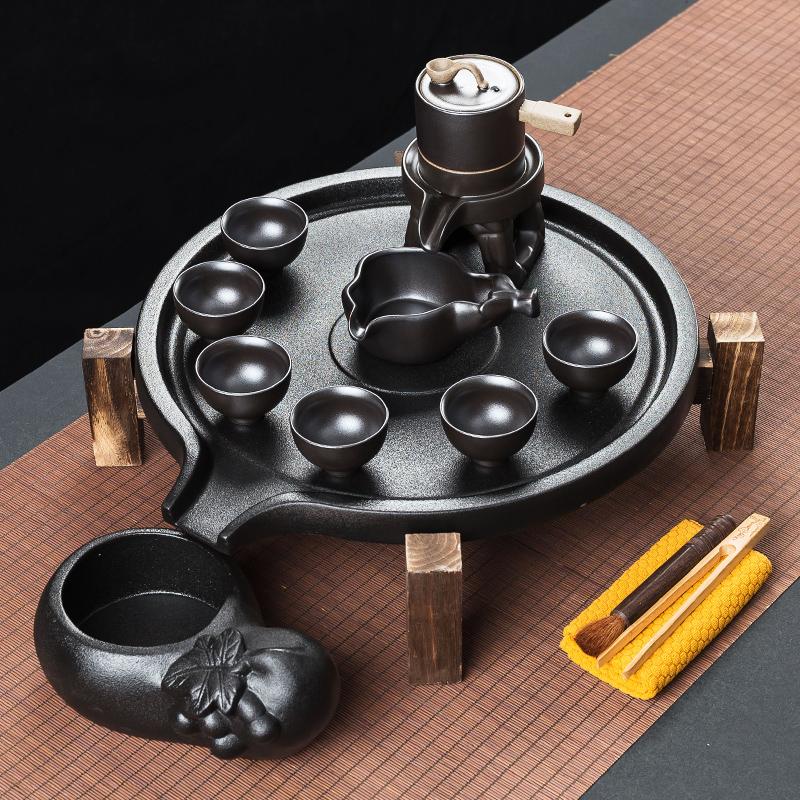 秦艺创意石磨陶瓷茶盘茶具套装家用复古紫砂全自动茶具懒人泡茶器