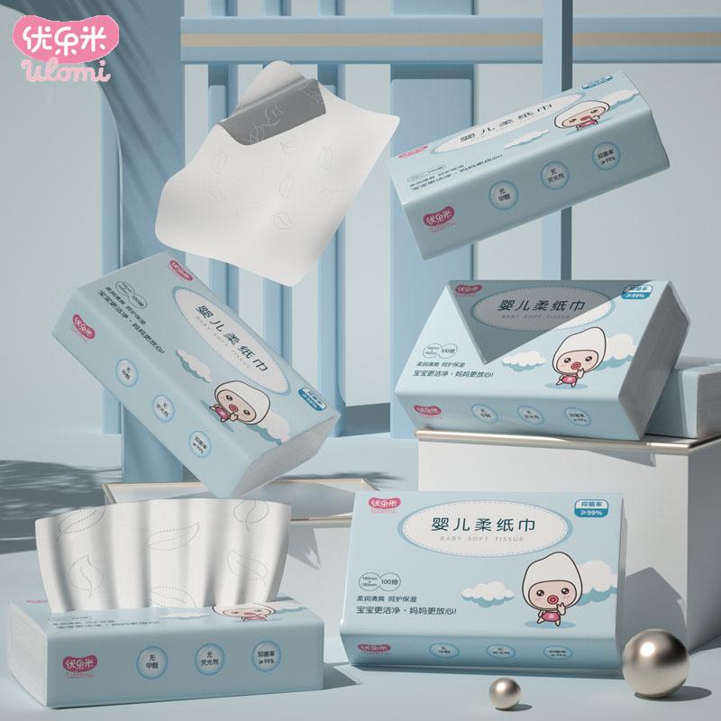 【优乐米】婴儿云柔巾抽纸100抽*6包