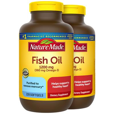 NatureMade深海鱼鱼油220粒*2美国原装omega3软胶囊DHA健身补剂