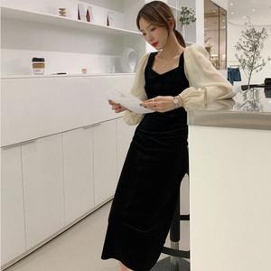 连衣裙秋装长袖新款流行收腰显瘦中长款