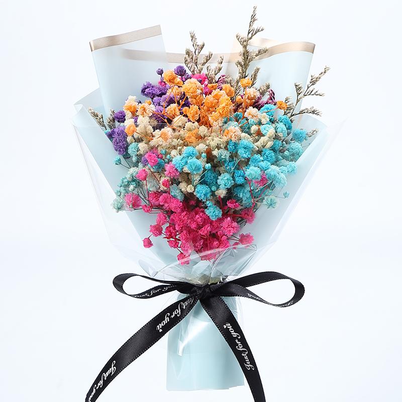 小干花花束迷你满天星玫瑰送七夕教师节结婚伴手礼物生日毕业摆件