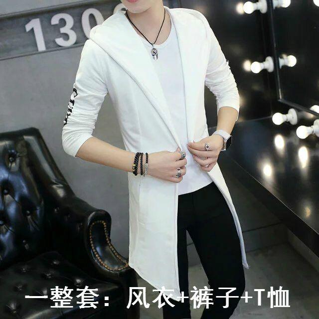 Mùa xuân và mùa thu mới của người đàn ông Hàn Quốc dài Trench Coat với Slim Jeans Nam Teen Trendy Set