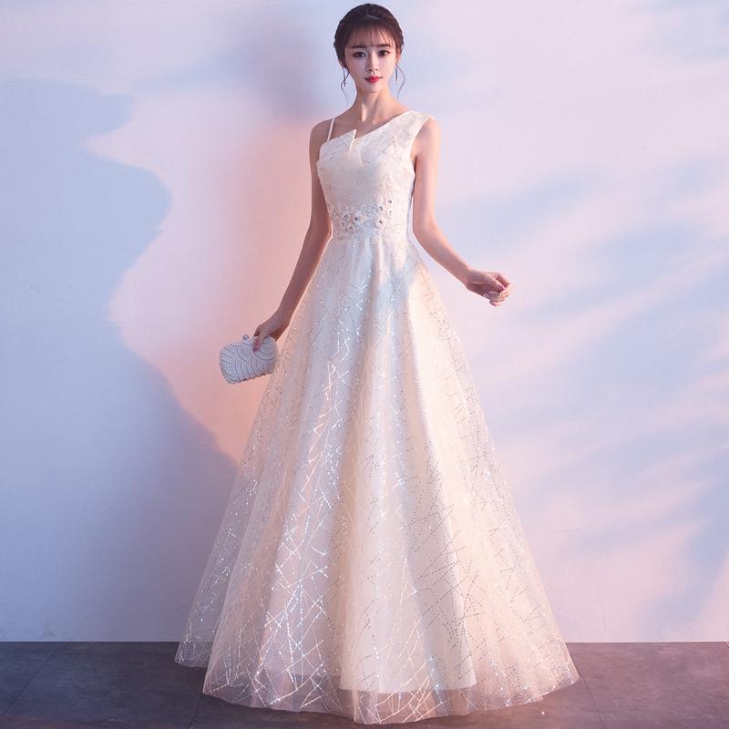 礼服晚礼服长款2019新款宴会色气质主持人派对香槟聚会生日伴娘女