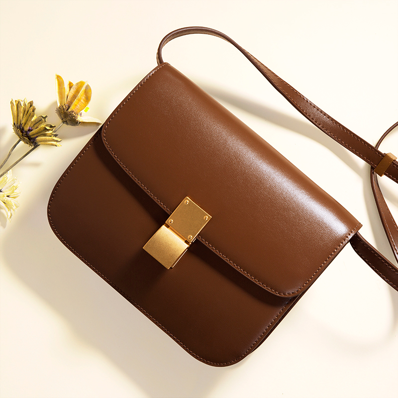 Leather tofu bag box bag 2019 new tide retro small square bag stewardess shoulder messenger bag fashion handbags