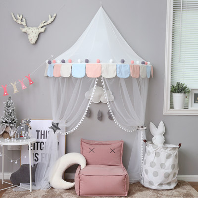 Children's tent play house girl princess interior decoration boy play house toy room reading corner half moon tent