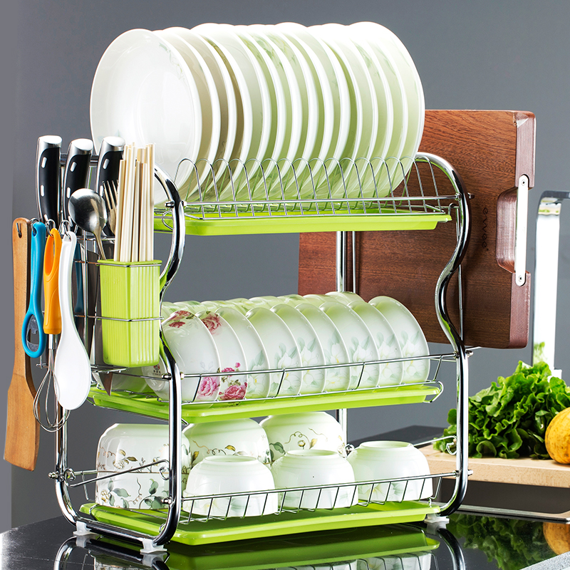 Трехуровневая кухонная стойка двухслойная столовая посуда для посуды столовая посуда стойка для посуды стойка для хранения посуда