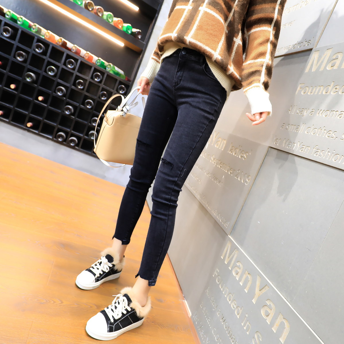 db6725b579f Hole jeans female tight feet autumn and Winter new women Korean ...