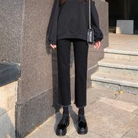 Черный джинсы Женский 2019 осень-зима сезон новая коллекция замшевый высокая Талия была тонкая и разносторонняя свободная тонкая бархатная прямые Брюки прилив