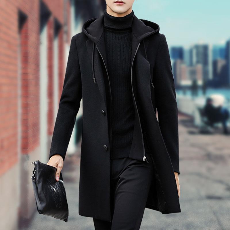 秋冬季羊毛男士男韩版外套呢子潮流2019新款大衣呢风衣中长款连帽