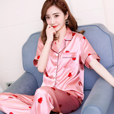 Pajamas female ice silk summer ladies two-piece thin short-sleeved suit trousers home service spring and autumn women's silk sexy