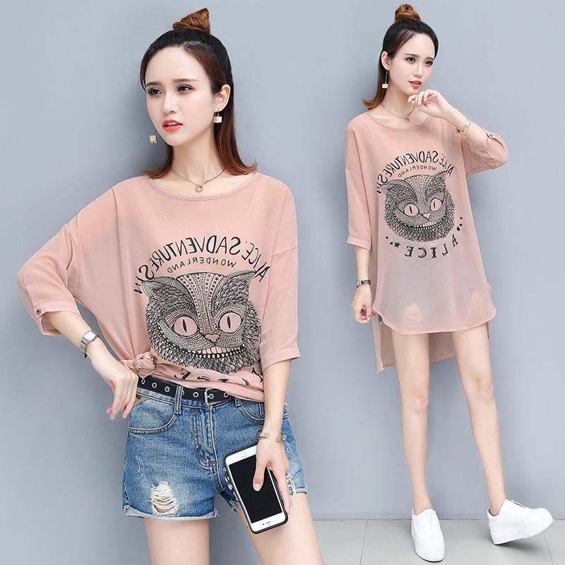 中长款T恤女2019夏季新款图案流行气质猫头鹰时尚宽松潮流款式款