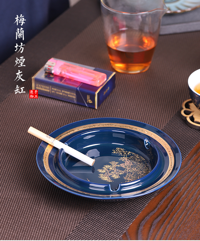 Ji blue glaze Chinese style restoring ancient ways the ashtray ceramic large creative move multi - function car home sitting room office