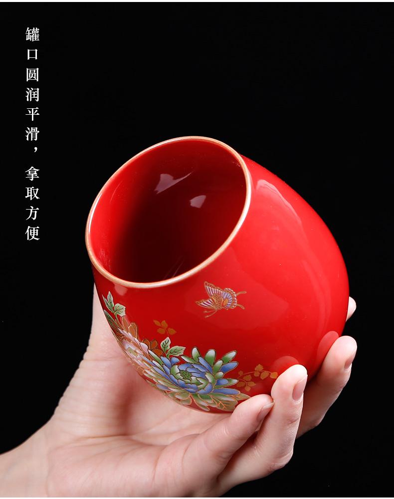Caddy fixings small seal storage tank Japanese coarse ceramic tea POTS with green tea, small tea warehouse