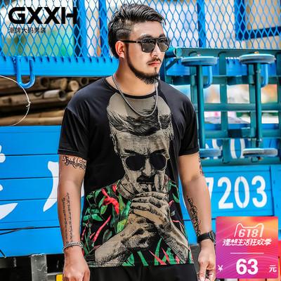 GxxH潮牌大码男装短袖T恤男宽松衣服肥佬加肥加大潮胖子半袖夏季