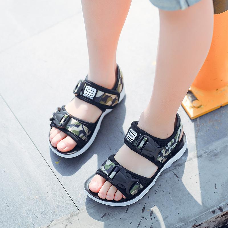 儿童凉鞋男童学生沙滩鞋 小男孩大童软底鞋子2018夏季新款潮