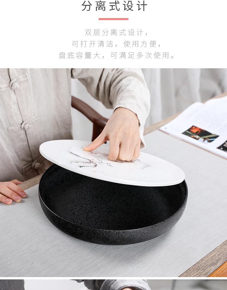 御泉 手绘陶瓷圆形茶盘储水家用功夫茶具干泡茶道托盘简约茶台