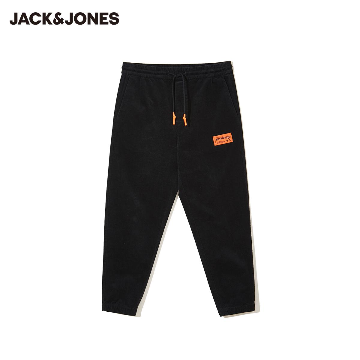 【预售】杰克琼斯冬新款抽绳束脚合体直筒条绒灯芯绒休闲裤长裤子