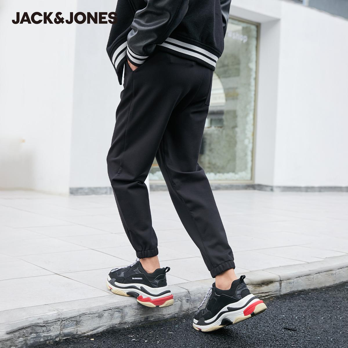 【预售】杰克琼斯冬新款薄款舒适直筒柔软钢印休闲运动卫裤长裤子