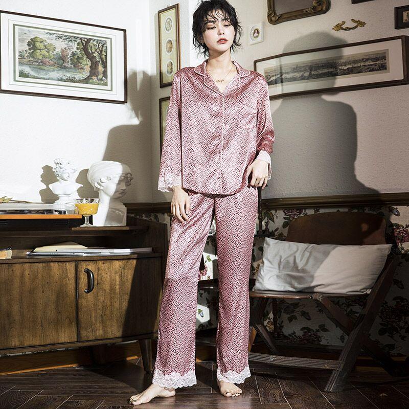 真丝粉色豹纹舒适薄款家居服套装